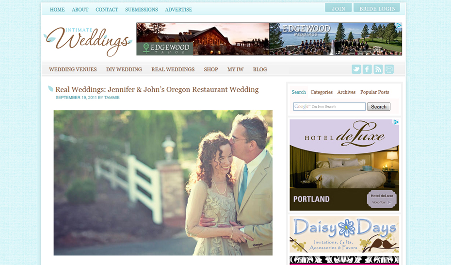 Intimate Weddings Real Weddings feature Erica Ann Photography