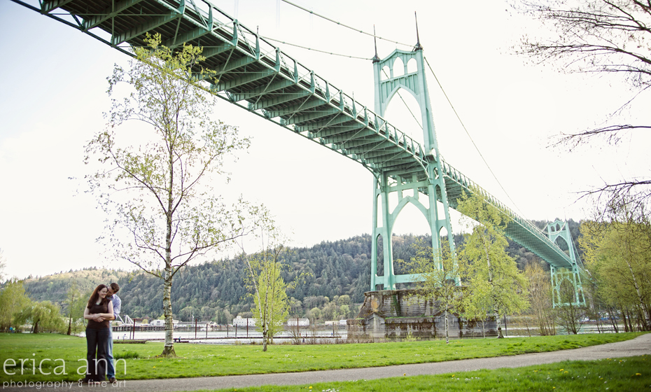 St Johns Bridge Cathedral Park Engagement Photographer