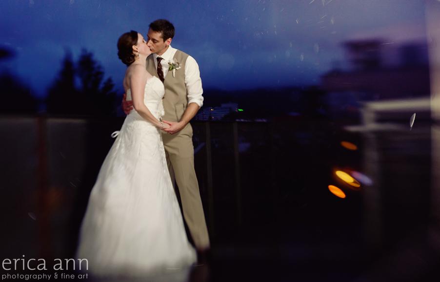 Portland Ecotrust Rooftop Rainy night wedding
