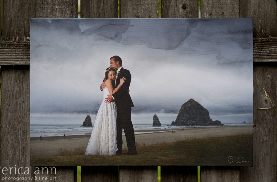 Cannon Beach Elopement Fine Art Watercolor Canvas