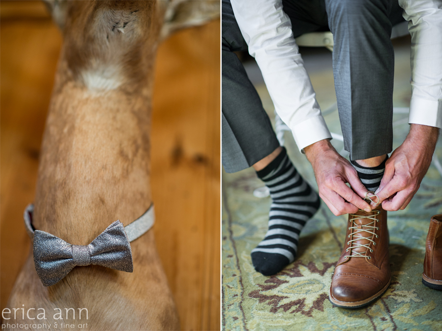 Long Farm Barn Wedding Photographers Bowtie striped socks