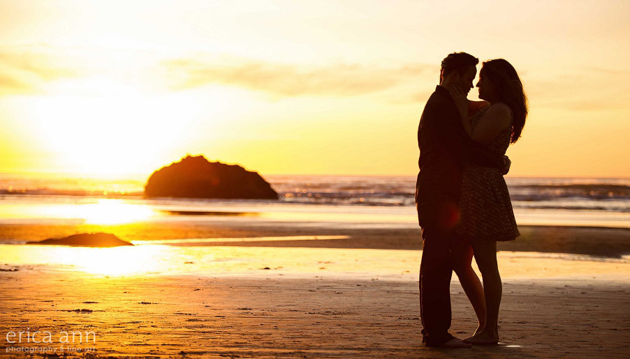 Hug Point Oregon Coast Engagement Sunset
