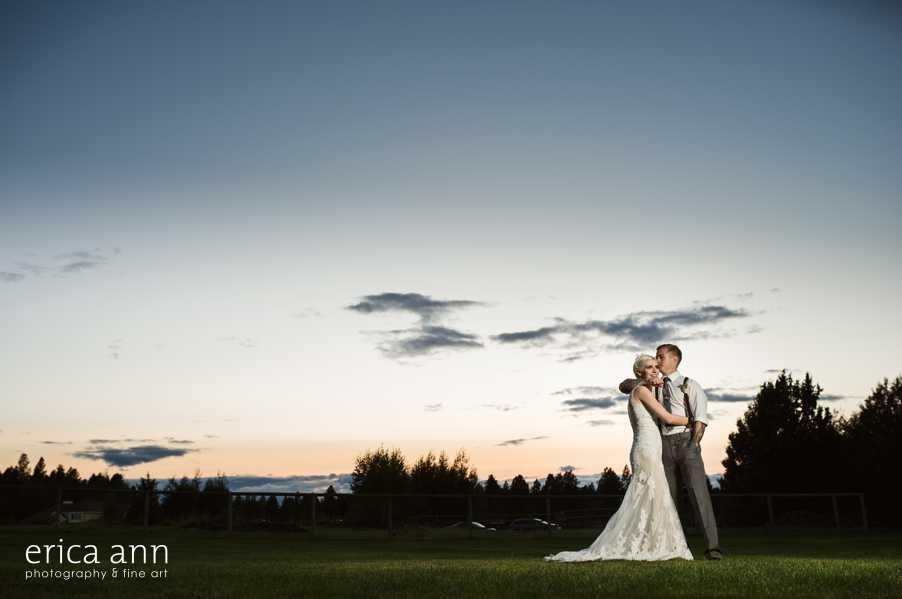 Backyard wedding sunset