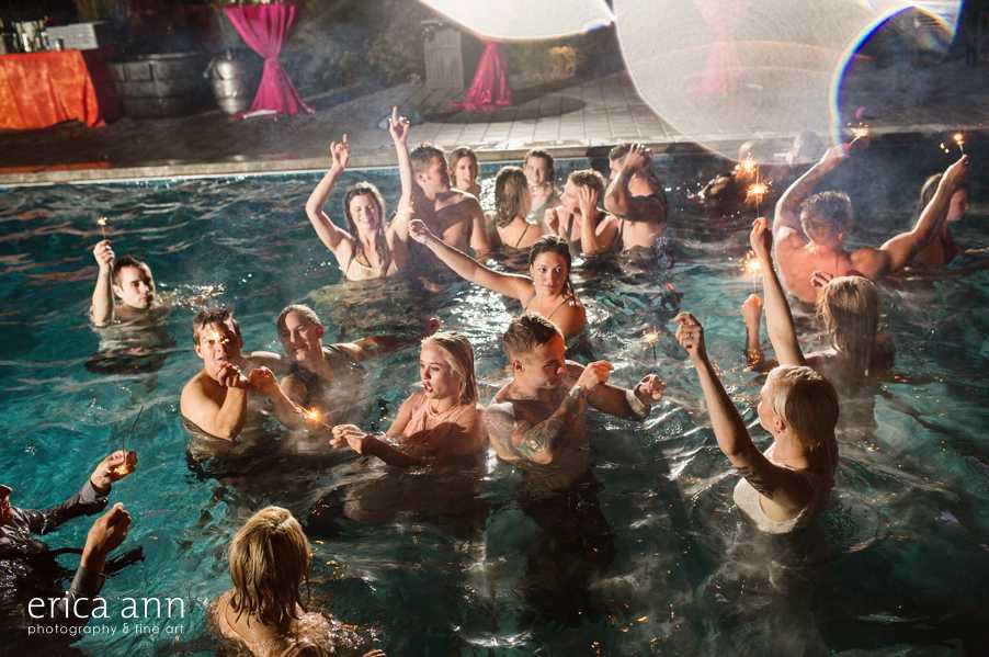 crazy Backyard wedding pool party