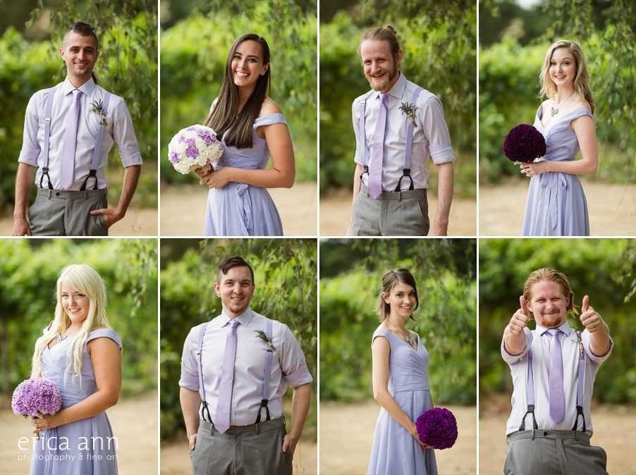 Ponzi Winery Wedding Bridal Party