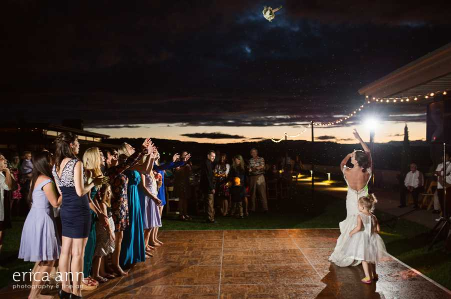 Ponzi Winery Wedding Bouquet Toss