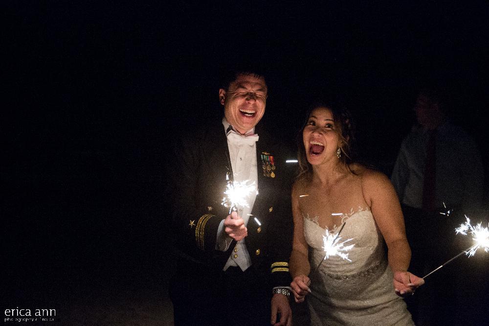 California beach wedding sparkler exit