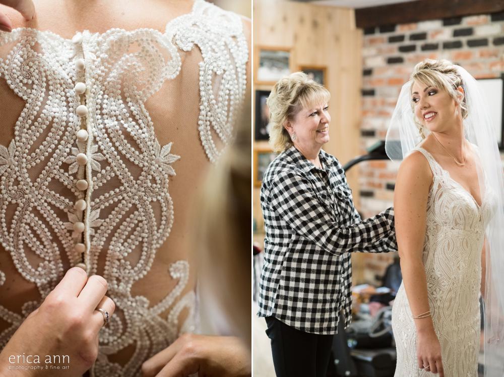 Lacy wedding dress back