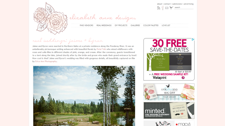 Elizabeth Anne Designs Featured Wedding Northern Idaho Pend O'Reille Lake