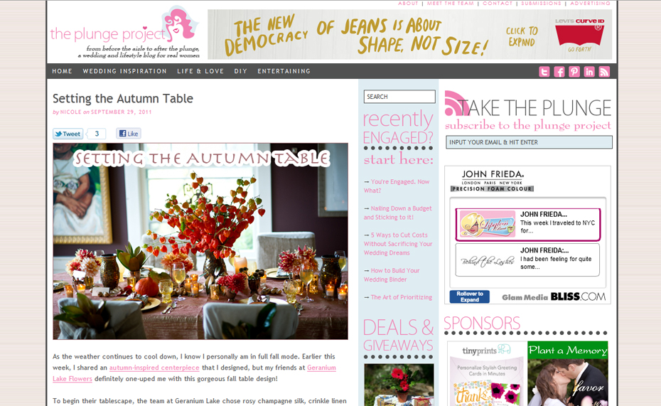 Setting the Autumn Table featured on the Plunge Project