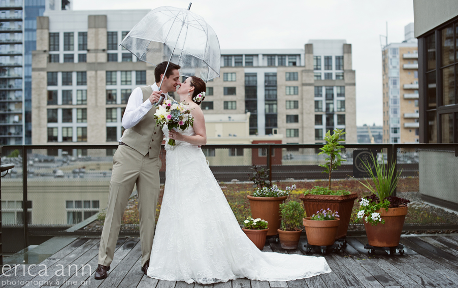 Colby and John Ecotrust Rooftop Portland Wedding
