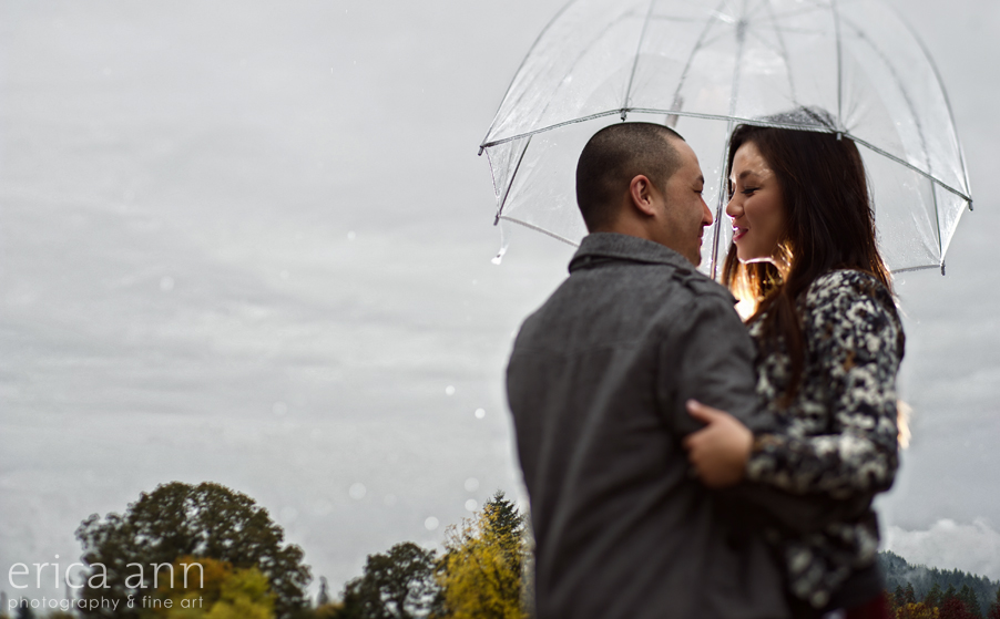 Rainy day engagement session Umbrella