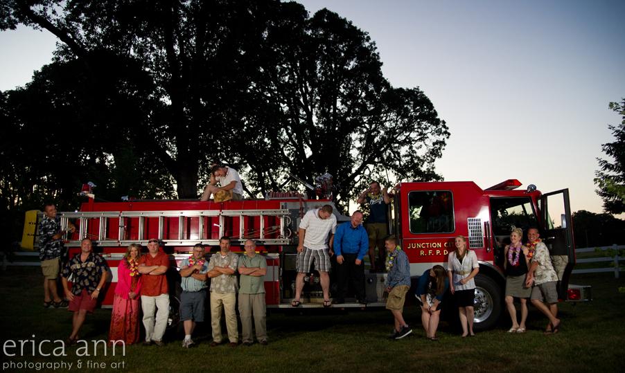 Backyard Hawaiian Wedding Photography Fire Engine