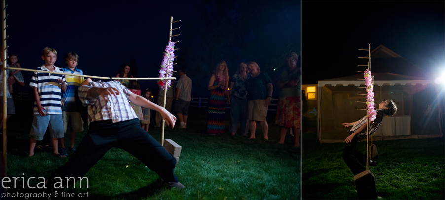 Backyard Hawaiian Wedding Photography Limbo