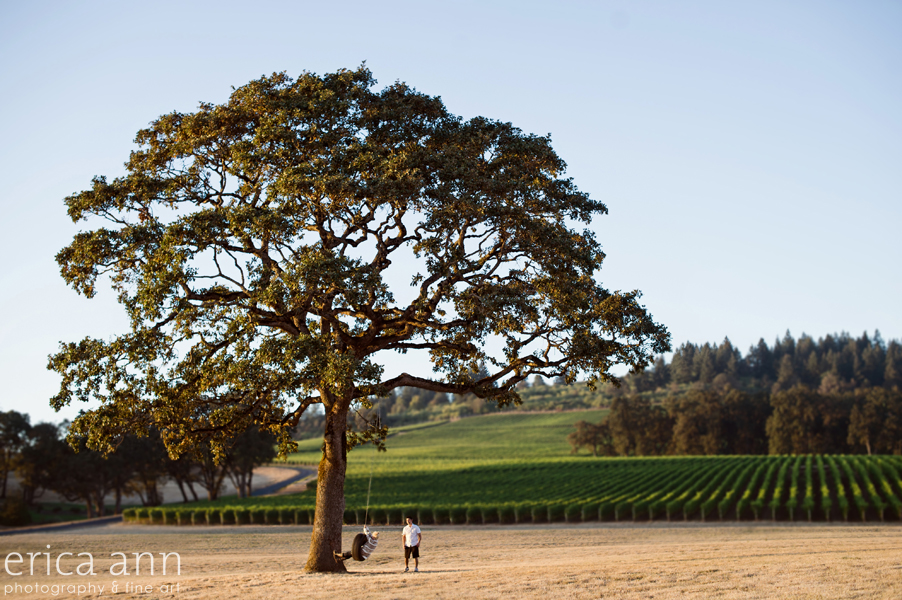 Stoller Vineyard Engagement Session Big Tree Tireswing