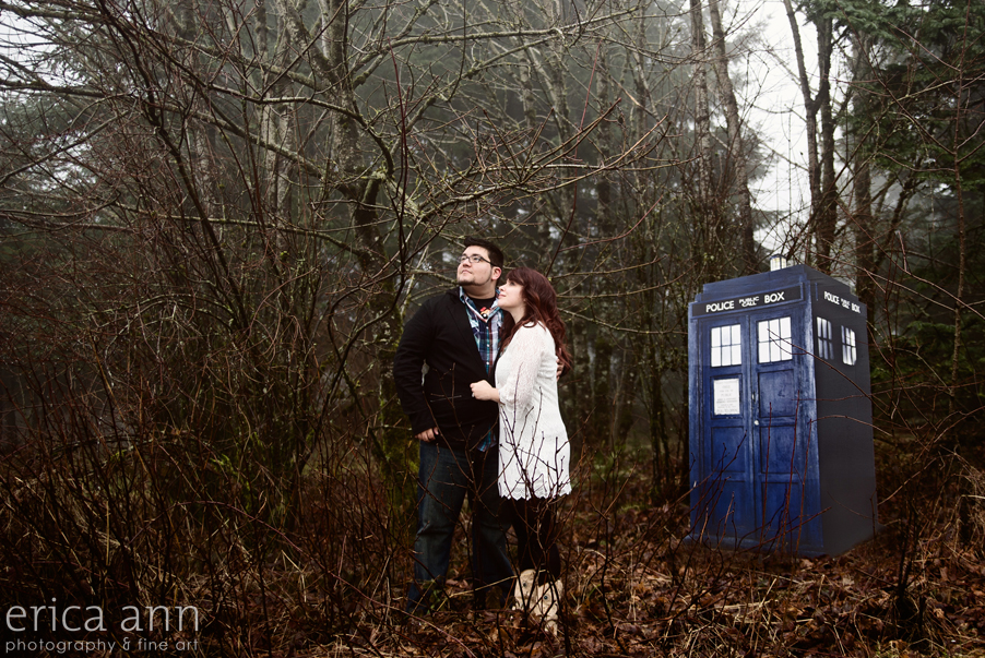 Foggy day engagement session portland dr. who