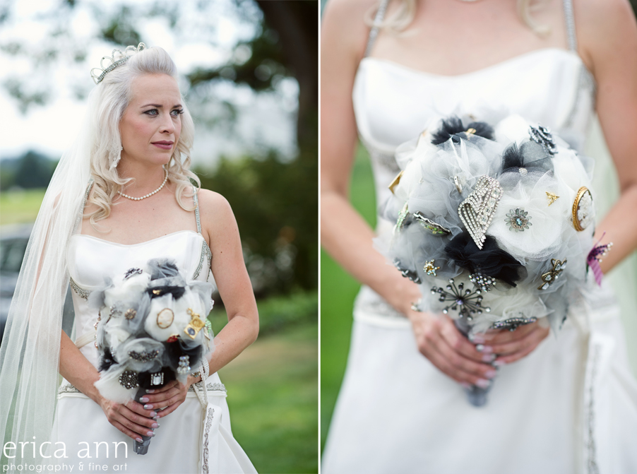 Stoller Vineyard Wedding Rainy Day Wedding Brooch Bouquet