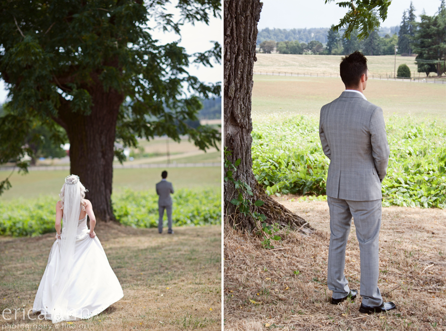 Stoller Vineyard Wedding Rainy Day Wedding First Look