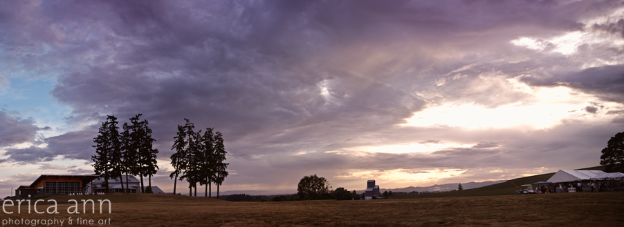 Stoller Vineyard Wedding Rainy Day Wedding Sunset