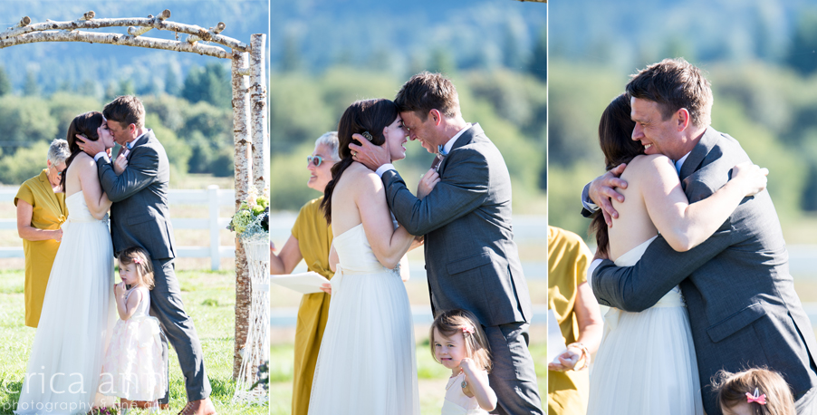 Long Farm Barn Wedding Photographers first kiss