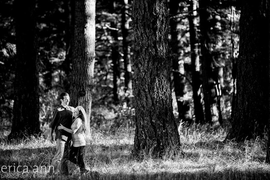 Bald Peak Engagement Photography black and white trees