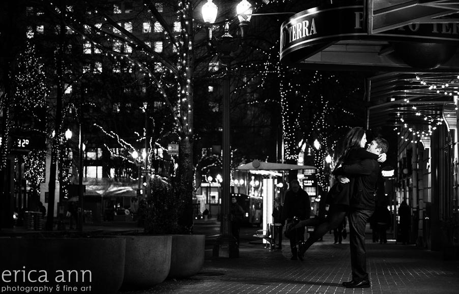 Winter night portland engagement photographers