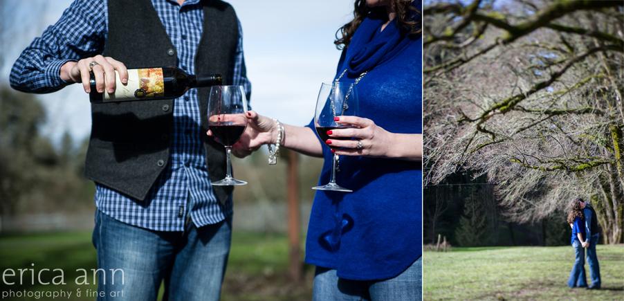 Jenkin's Estate Engagement Session Wine