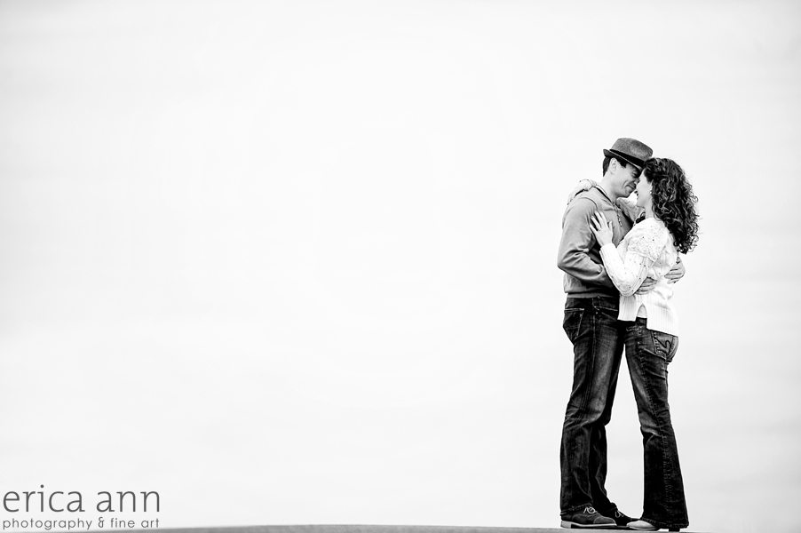 Cooper Mountain Vineyard Engagement Session black and white