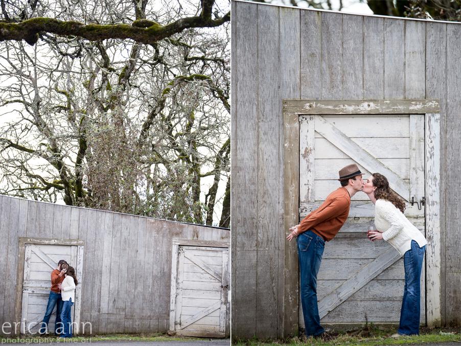Cooper Mountain Vineyard Engagement Session kissing