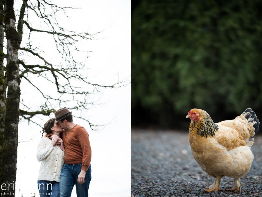 Cooper Mountain Vineyard Engagement Session chicken