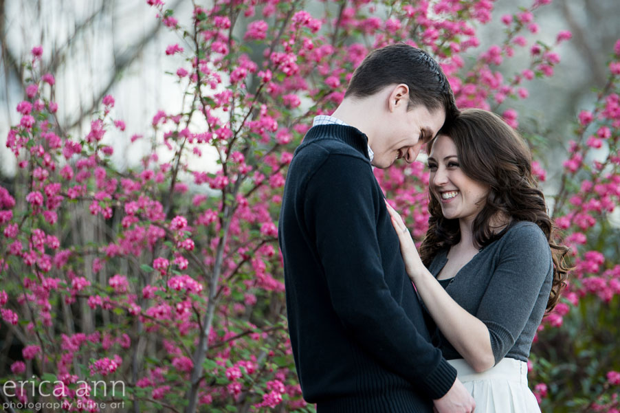 Portland Waterfront Engagement Session pink flowers