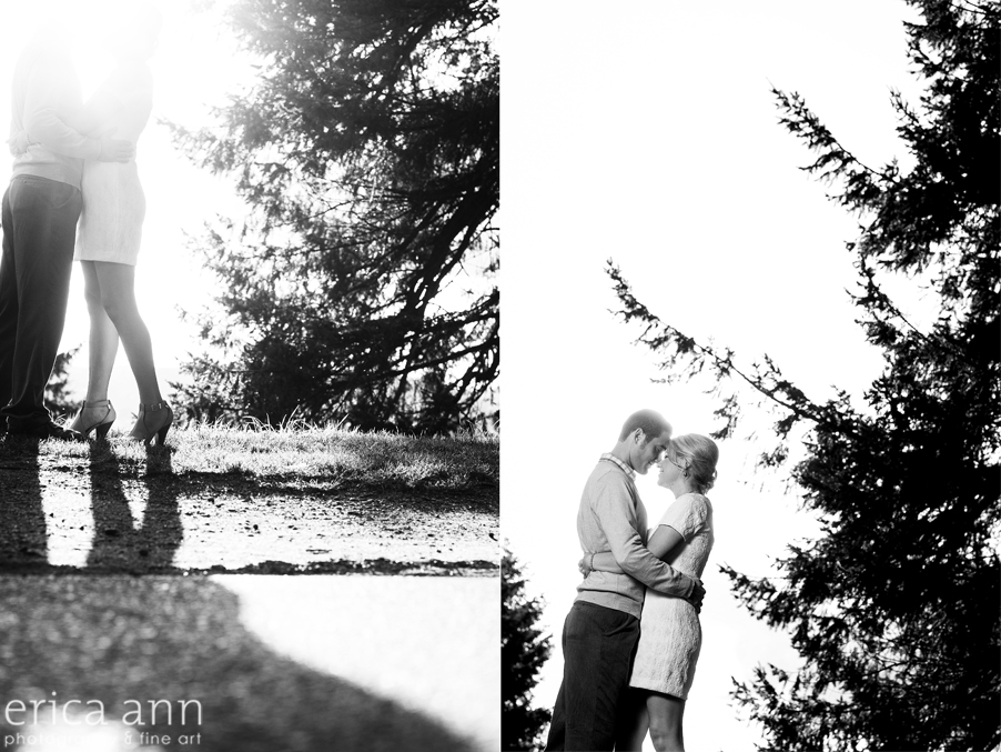 Mt Tabor Engagement Session black and white