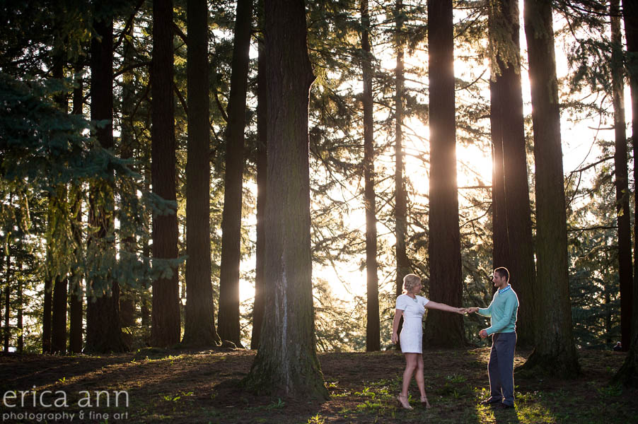 Mt Tabor Engagement Session Sunset Trees