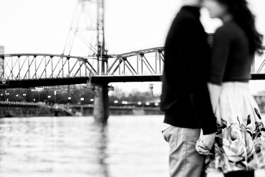 Portland Waterfront Engagement Session Hawthorne Bridge