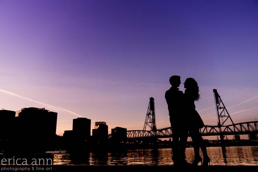 Portland Waterfront Engagement Session sunset hawthorn bridge