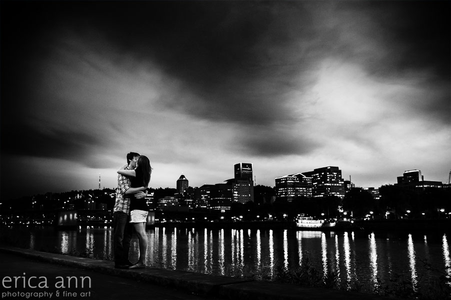 black-and-white-night-waterfront-engagement