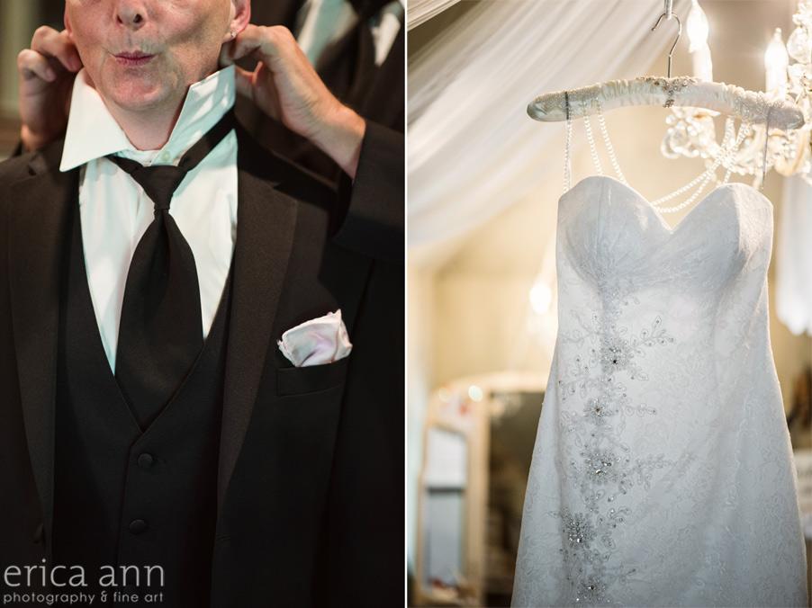 Bride and Groom getting ready wedding dress