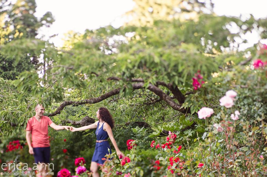 Dancing Portland Rose Garden Engagement