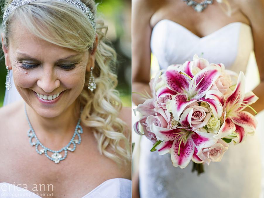 Brides bouquet and makeup