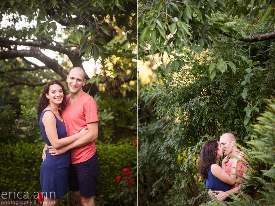 Kissing Portland Rose Garden Engagement