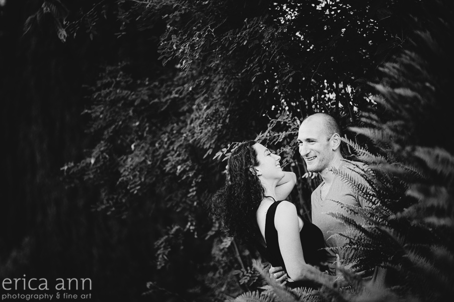 Black and White Portland Rose Garden Engagement