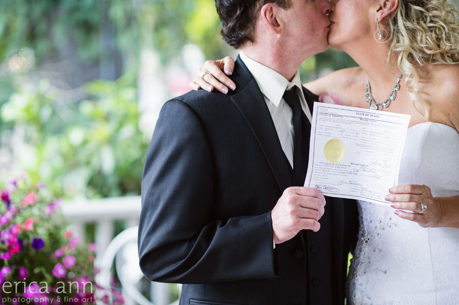 bride and groom marriage license shot