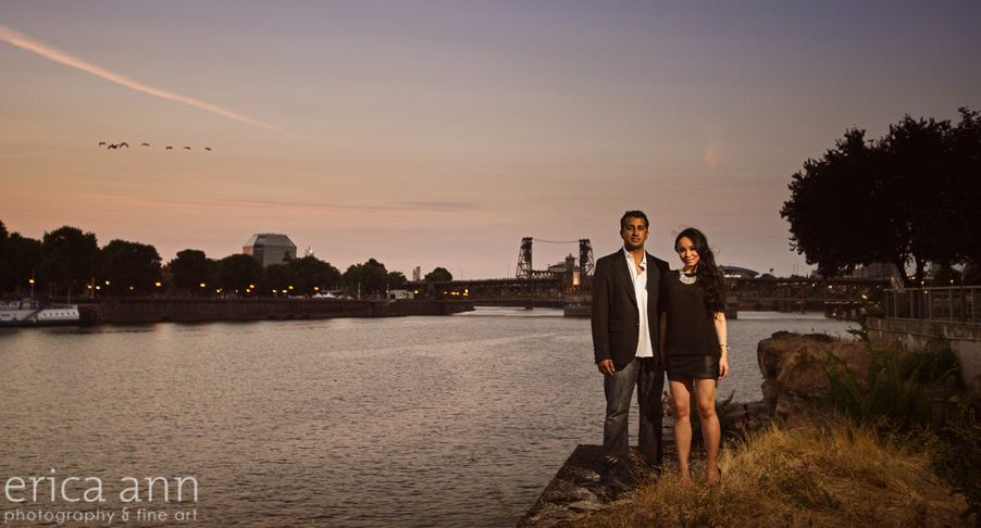 Portland Waterfront Sunset Engagement