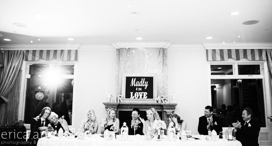 bridal party toasts black and white