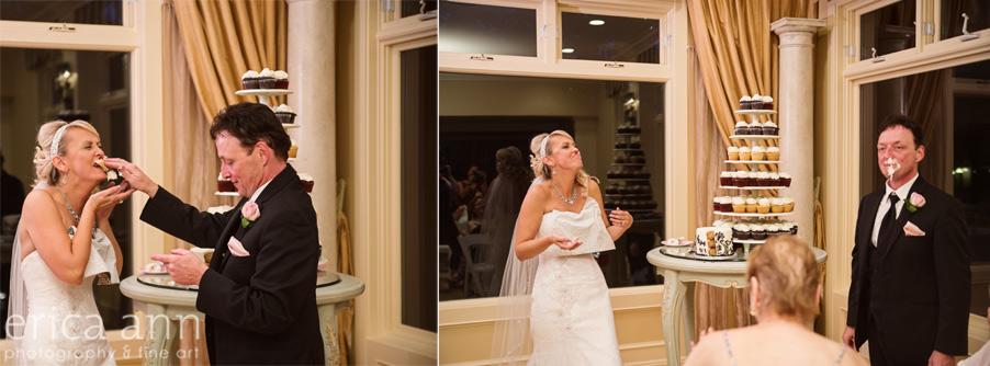 Cake smash bride and groom
