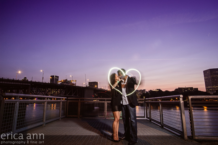 Portland Waterfront Light Painting Engagement
