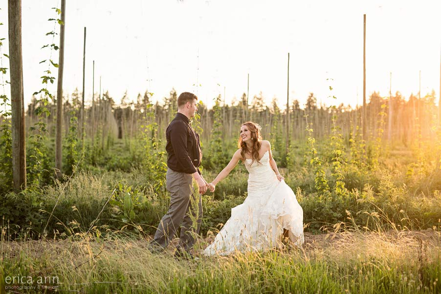 Wilmes Hop Farms Wedding sunset