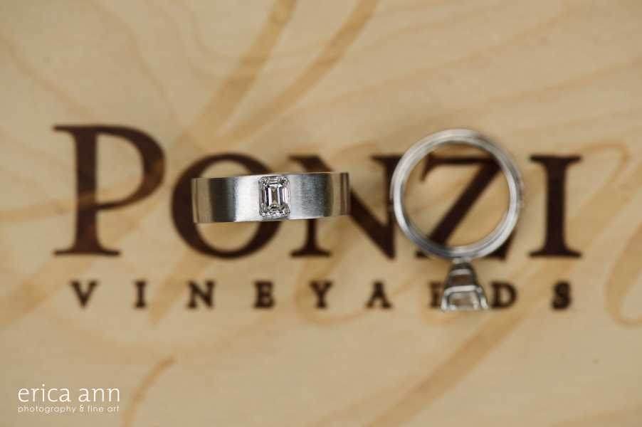 Ponzi Winery Wedding Rings