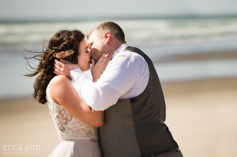 Oregon Coast Wedding First Kiss