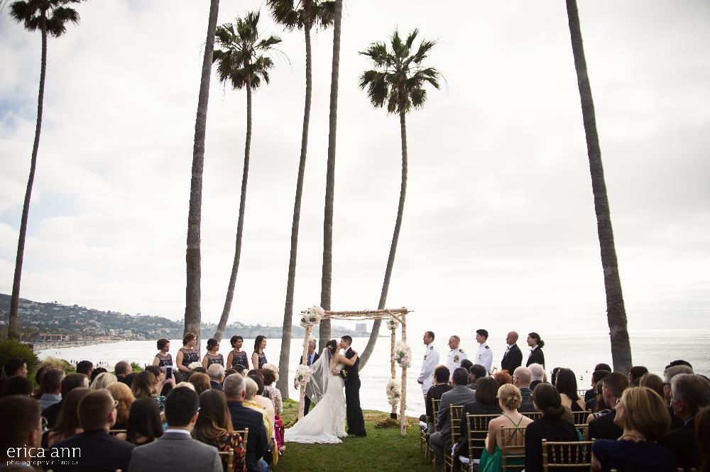 California beach wedding ceremony